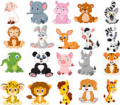 Vector illustration of Cartoon animals collection set
