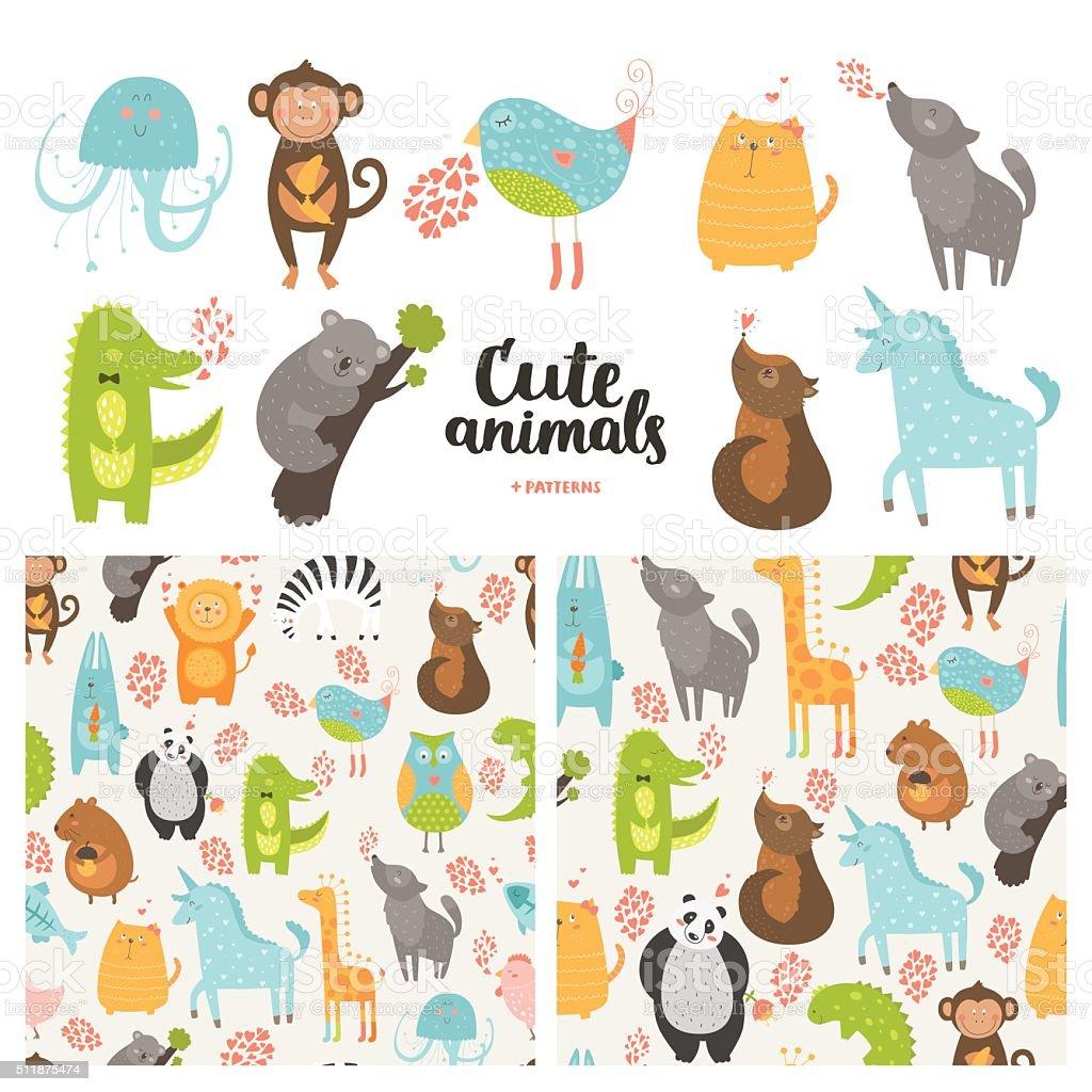 Cartoon animals collection vector art illustration