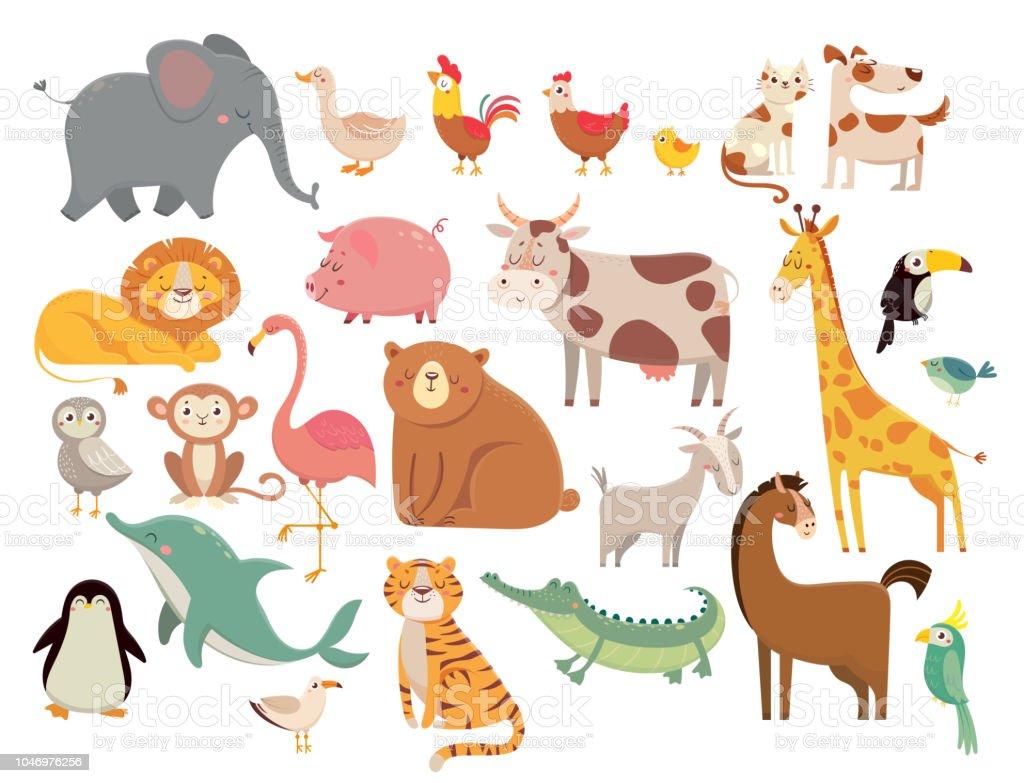 Animais dos desenhos animados. Lindo elefante e Leão, girafa e crocodilo, vaca e frango, cão e gato. Conjunto de vetor de animais fazenda e savana vetores de animais dos desenhos animados lindo elefante e leão girafa e crocodilo vaca e frango cão e gato conjunto de vetor de animais fazenda e savana e mais imagens de animal royalty-free