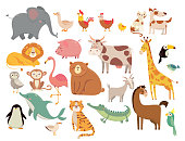 Cartoon animals. Cute elephant and lion, giraffe and crocodile, cow and chicken, dog and cat animal. Farm and savanna wild forest and marine or zoo animals vector isolated icons set