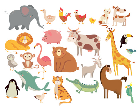 Cartoon animals. Cute elephant and lion, giraffe and crocodile, cow and chicken, dog and cat. Farm and savanna animals vector set clipart