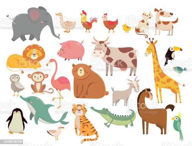 Cartoon animals cute elephant and lion giraffe and crocodile cow and vector id1046976256?b=1&k=6&m=1046976256&s=612x612&h=t  f8edpczl62qcync5w2yygvvfuv0kp8hvtsk92ihm=