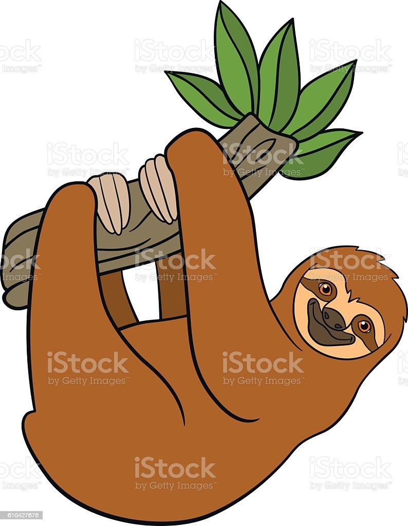 royalty free sloth tree clip art vector images illustrations istock rh istockphoto com baby sloth clipart sloth clipart image