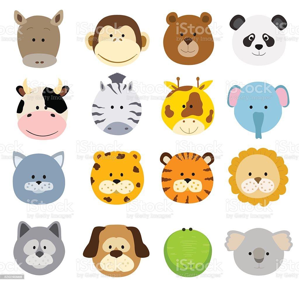 Ilustración de Animales De Dibujos Animados De Caras y más