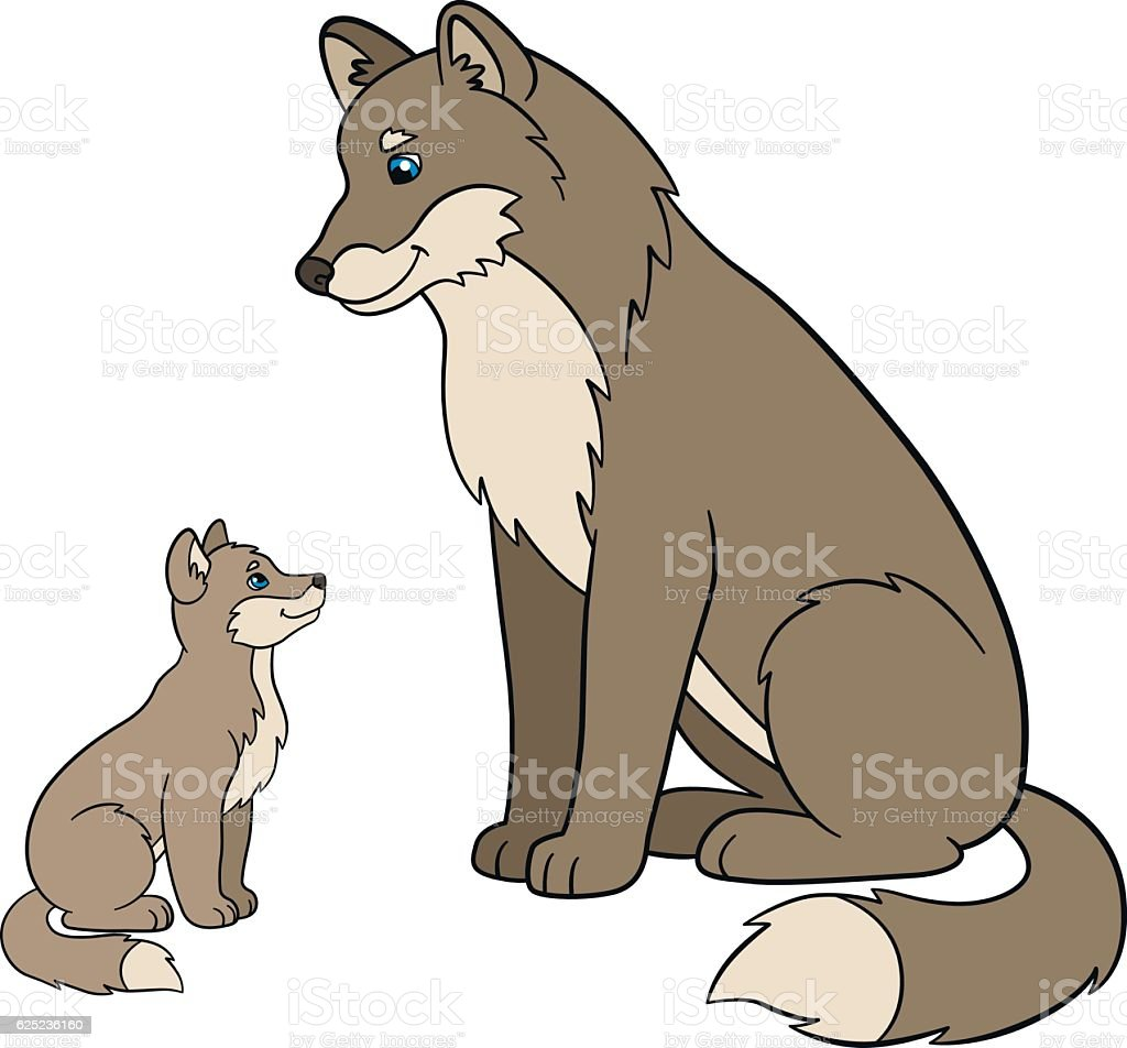 Uncategorized Cartoon Baby Wolf cartoon animals father wolf with his cute baby stock vector royalty free vector