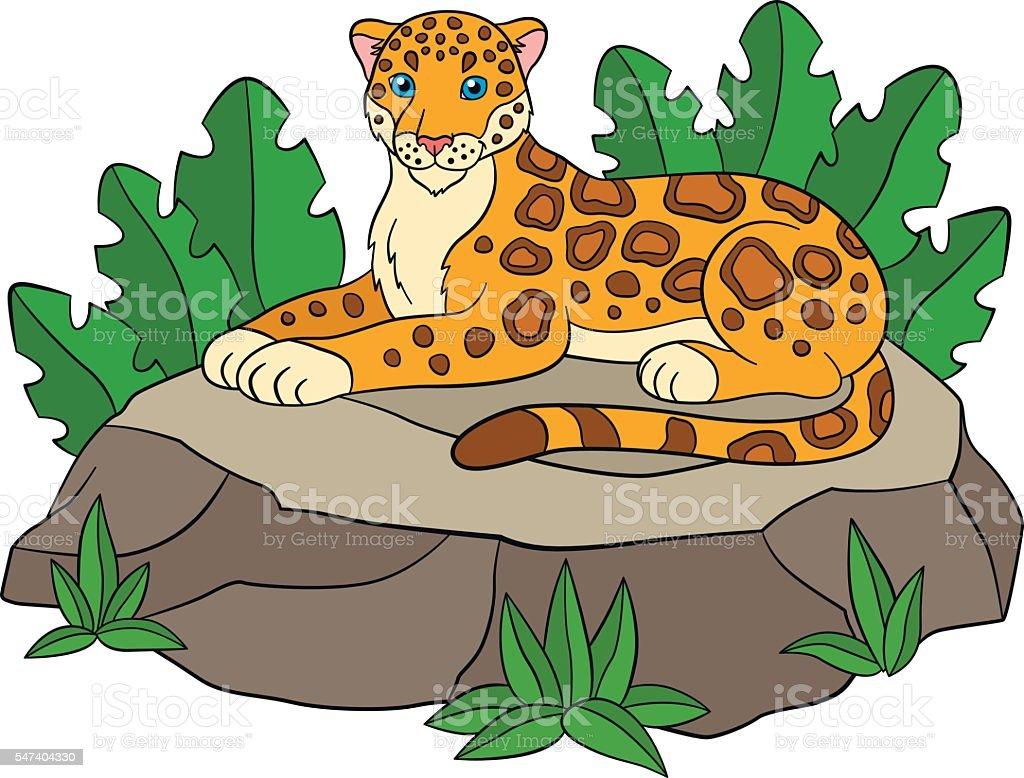 cartoon animals for kids cute jaguar on the stone stock vector art