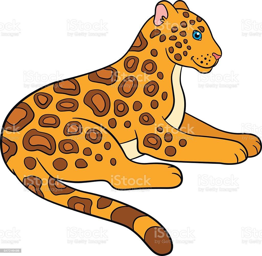 cartoon animals for kids cute jaguar smiles stock vector art