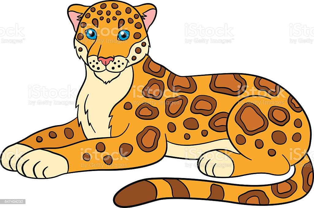 Cartoon Animals For Kids Cute Jaguar Smiles Stock Vector Art More