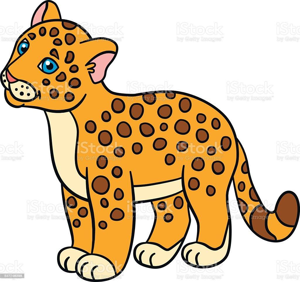 Cartoon Animals For Kids Little Baby Jaguar Smiles - Arte vectorial ...