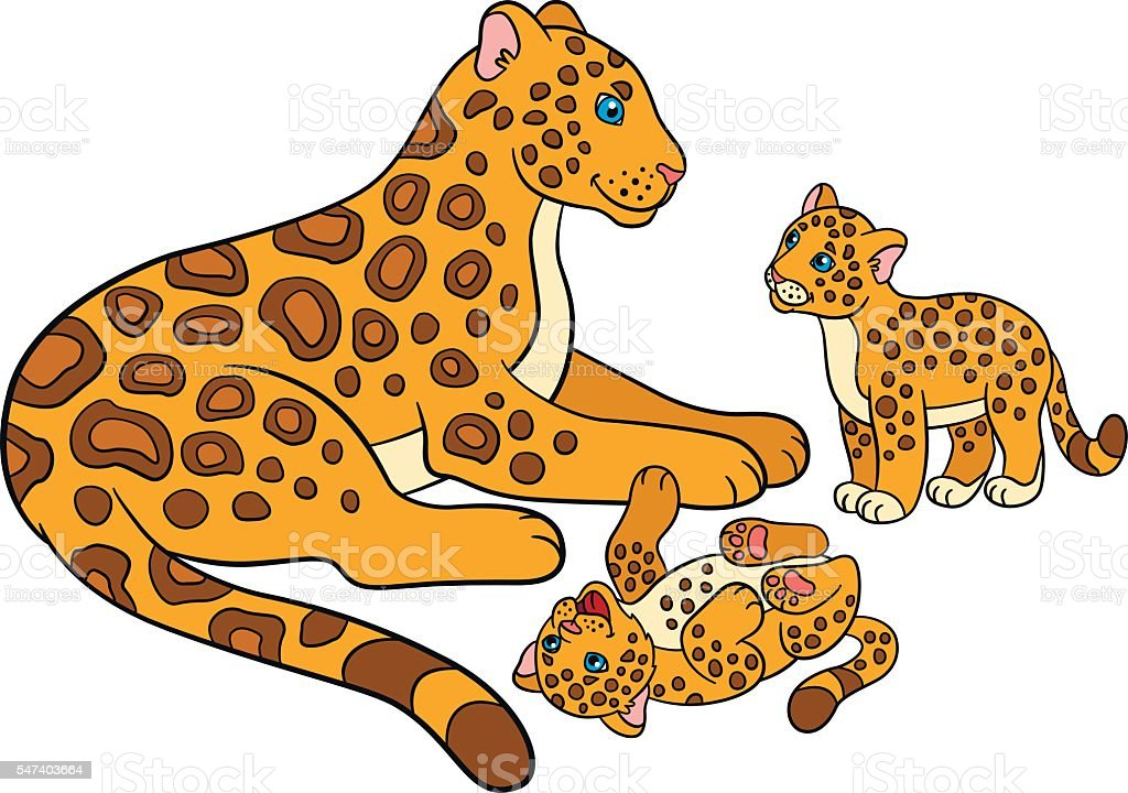 cartoon animals for kids mother jaguar with her cubs royalty free stock vector - Pics Of Animals For Kids