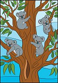 Cartoon animals. Four little cute koala babies.