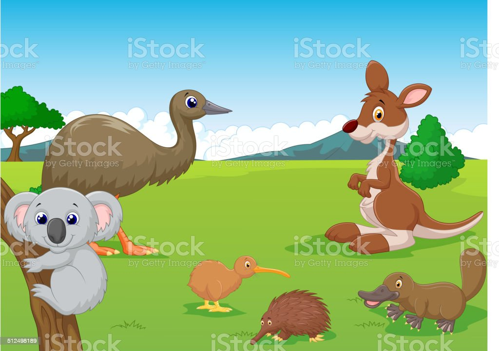 cartoon animals in australian outback stock vector art more images rh istockphoto com Shooting Star Clip Art Australian Outback