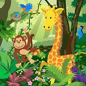Cartoon Animals in the Jungle
