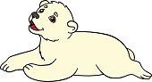 Cartoon animals. Little cute baby polar bear smiles.