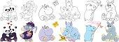 cartoon animals mammals set