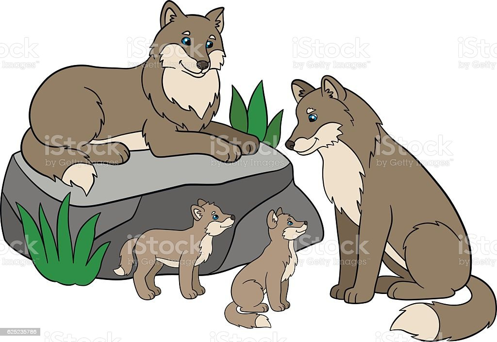 Cartoon Animals Mother And Father Wolves With Their Cute Babies