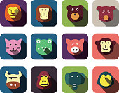 Cartoon animals on a flat design