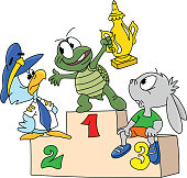 Cartoon animals on podium turtle holding the champion cup in his hands vector illustration