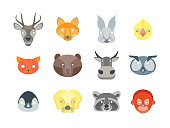 Cartoon Animals Party Mask Set for Costume. Vector