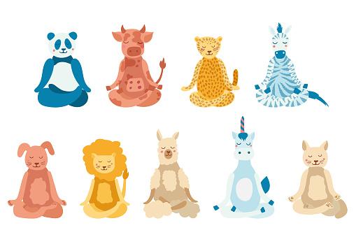 Cartoon animals performing yoga exercise. Drawing panda, cow, jaguar, zebra, dog, cat, lion, lama and unicorn character