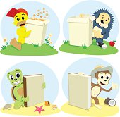 The cartoon animals represent book and paper box for cornflake