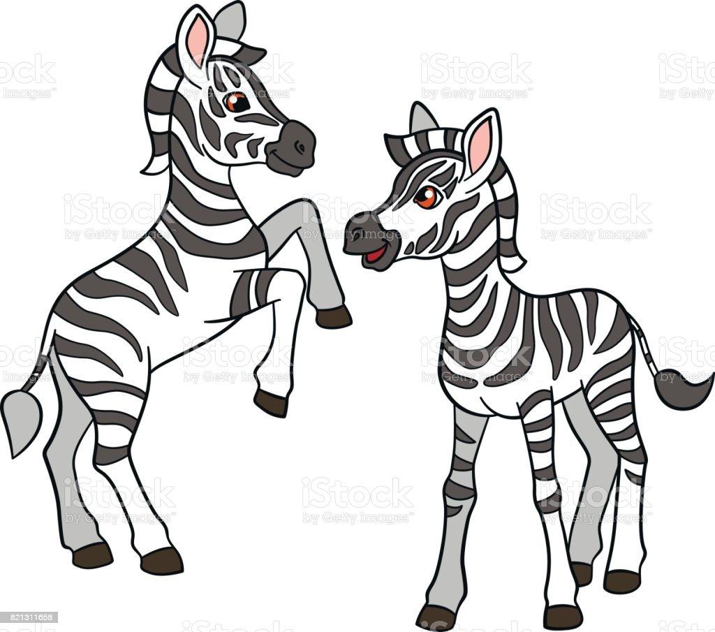 cartoon animals two little cute baby zebras stock vector art more rh istockphoto com cartoon zebra crossing cartoon zebra to draw