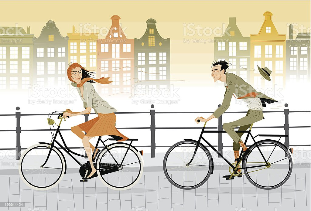 Cartoon animated couple on a city bike ride royalty-free cartoon animated couple on a city bike ride stock vector art & more images of adult