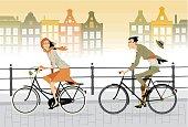 Cartoon animated couple on a city bike ride