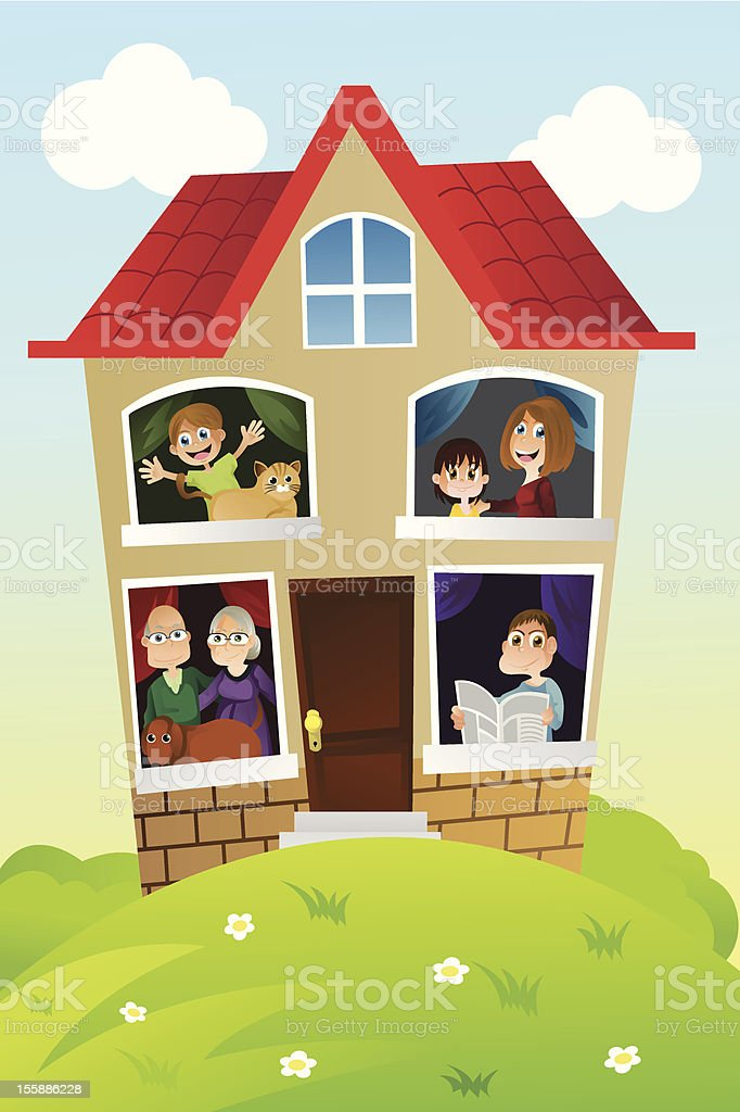 A Cartoon Animation Of A Family At Home Together Stock ...