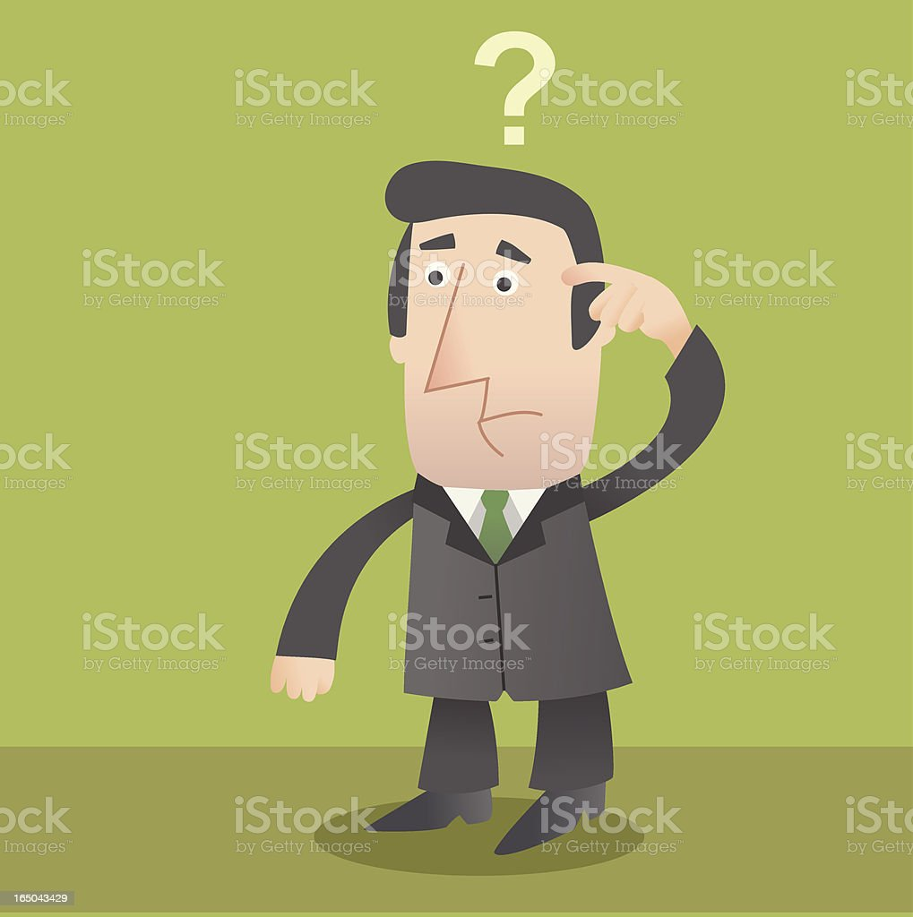 Cartoon animation of confused businessman vector art illustration