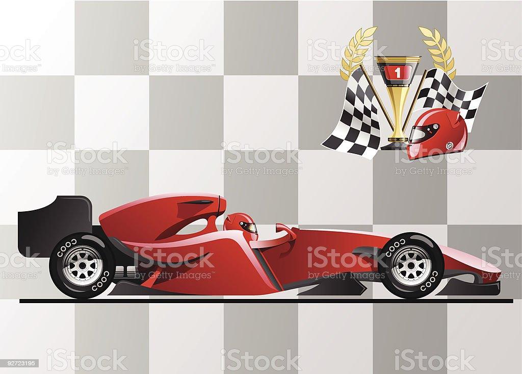 Cartoon animation of red Formula 1 race car vector art illustration