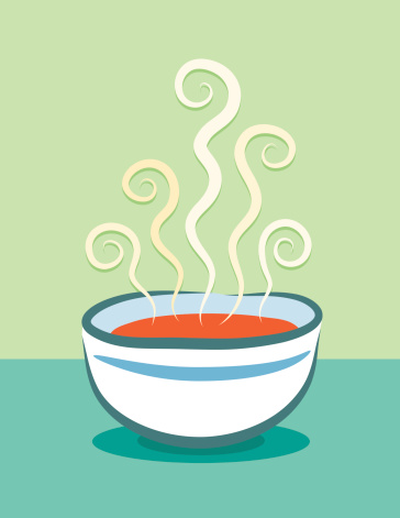 Cartoon animation of steaming bowl of tomato soup