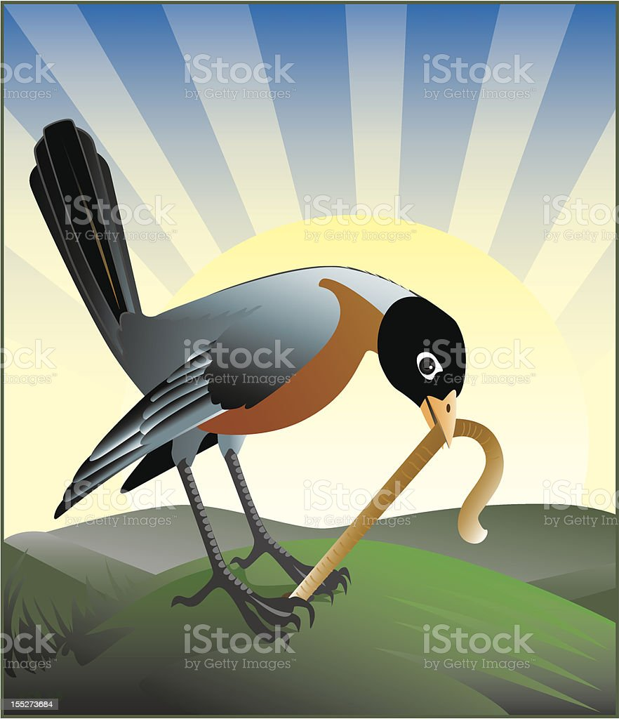 Cartoon animation of the early bird getting a worm royalty-free stock vector art