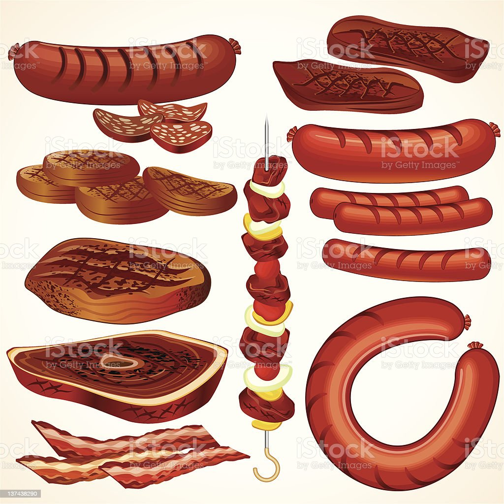 Cartoon animation of various cuts of meat vector art illustration