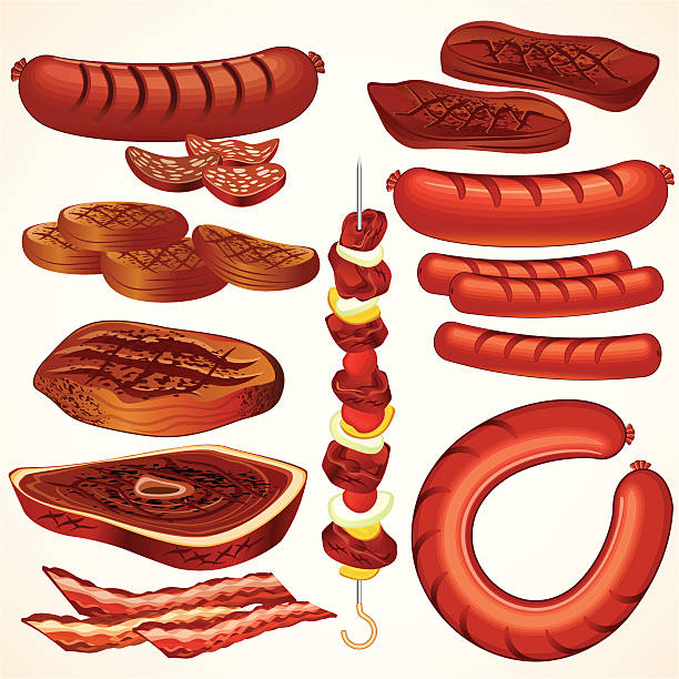 stockillustraties, clipart, cartoons en iconen met cartoon animation of various cuts of meat - bargerecht