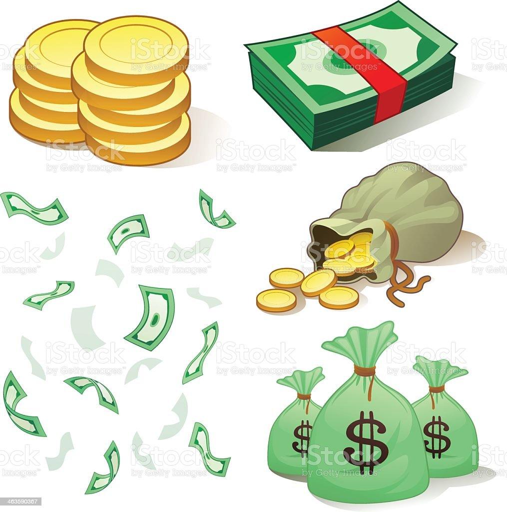 Cartoon animation of various representation of money vector art illustration