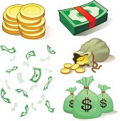 Cartoon animation of various representation of money