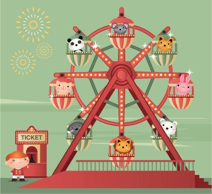 Cartoon animation of zoo animals riding a Ferris wheel