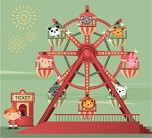 Ferris wheel with cute animals. Zip also includes AI CS2 and PDF.