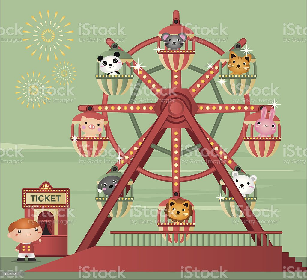 Cartoon animation of zoo animals riding a Ferris wheel vector art illustration