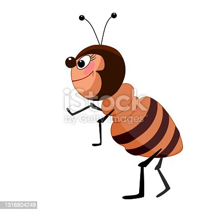 istock Cartoon ant isolated on white background. Cute bug character. 1316804249