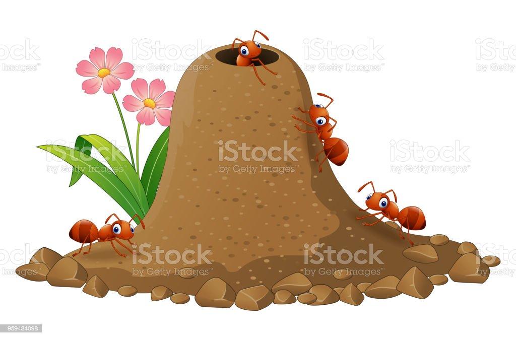 Cartoon ants colony and ant hill vector art illustration