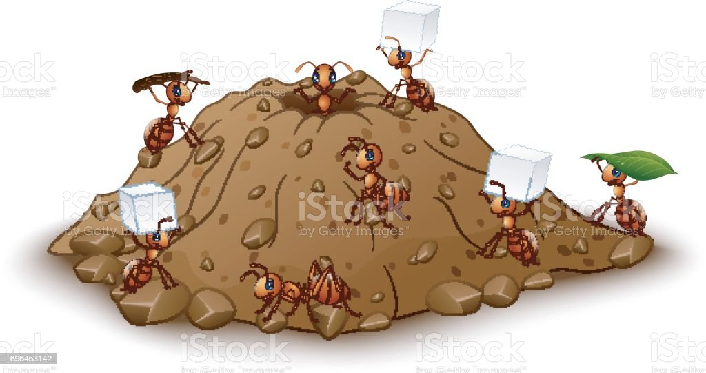 Cartoon ants colony with anthill vector art illustration