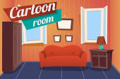 Cartoon Apartment Livingroom Interior House Room Retro Vintage Background Vector