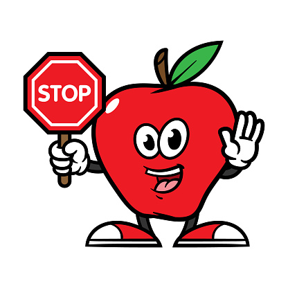 Cartoon Apple Character Holding Stop Sign Stock