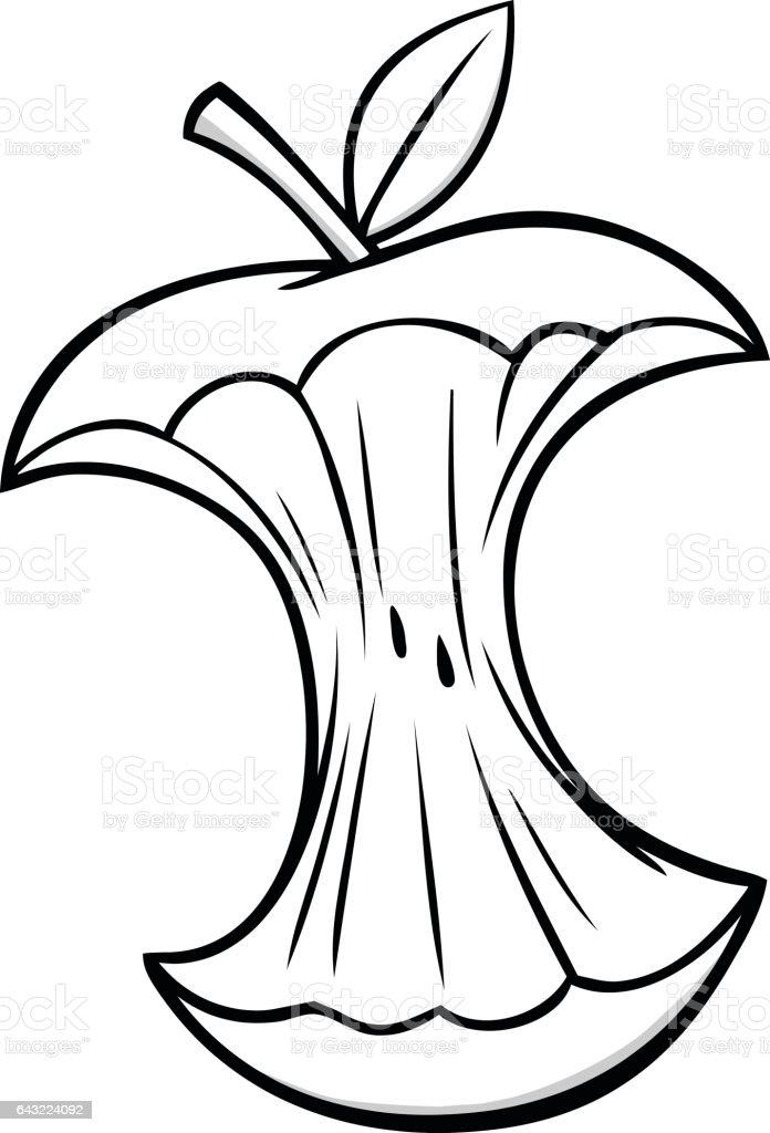 Cartoon Apple Core Illustration vector art illustration
