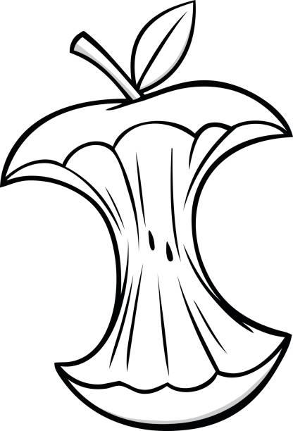 cartoon apple core illustration - rotten apple stock illustrations, clip art, cartoons, & icons