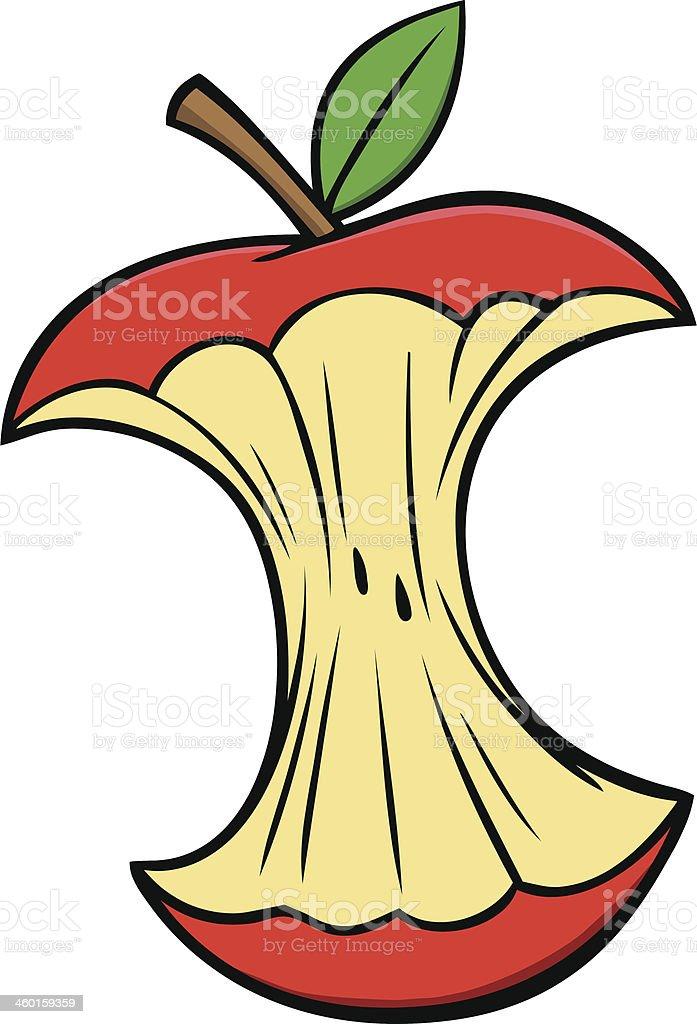 Cartoon Apple Core vector art illustration
