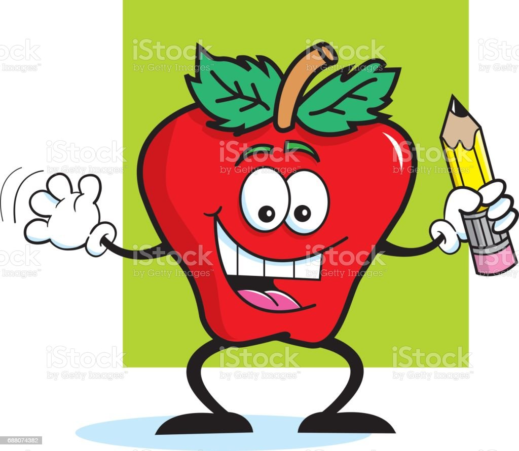 Cartoon apple holding a pencil. vector art illustration