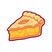 Cute cartoon apple pie drawing. Hand drawn slice of traditional American fruit pie. Isolated vector illustration.
